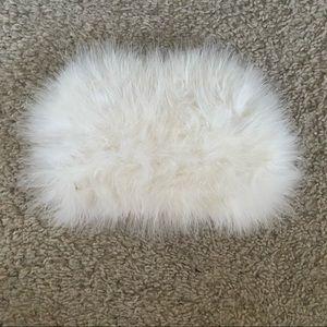 fluffy white faux fur clutch purse missguided